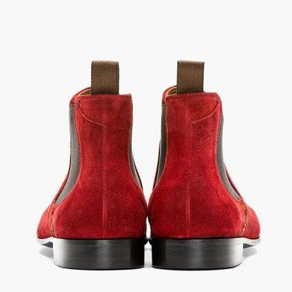 Handmade men Red color suede leathe..