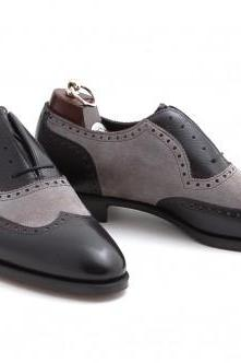 Men Black Gray Wingtip Brogue Formal Leather Shoes, Handmade / Handcrafted, Tuxedo Dress Shoes