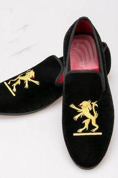 Handmade Men Black Velvet Embroidered Shoes, Handcrafted Slipper Casual Shoes