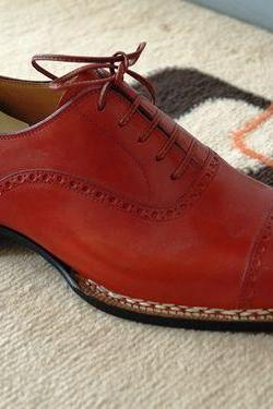Handmade Men Red Color Dress Shoes, Men's Formal Leather Shoes