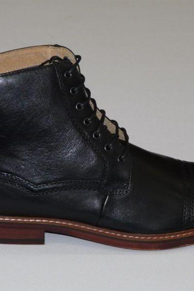 Handmade men Black Ankle high leather boots, Men's real leather boot