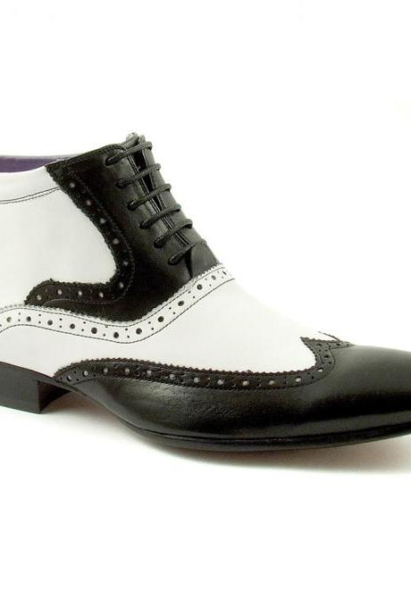 Handmade Men black and white wingtip ankle boots, Men's real leather boot
