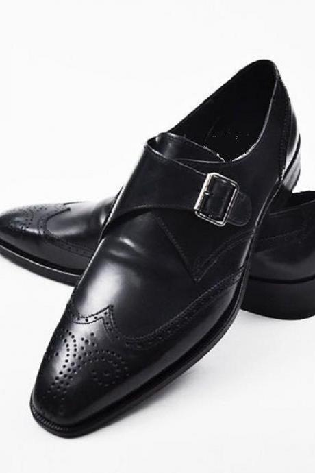 Handmade men black dress shoes, Men's leather monk formal shoe