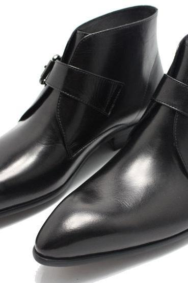Handmade men Black pointed toe genuine leather boots, Mens fashion leather boot