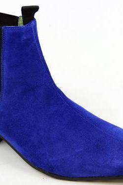 Handmade men Blue color pointed toe suede ankle boots , Men's boot with Cuban heel