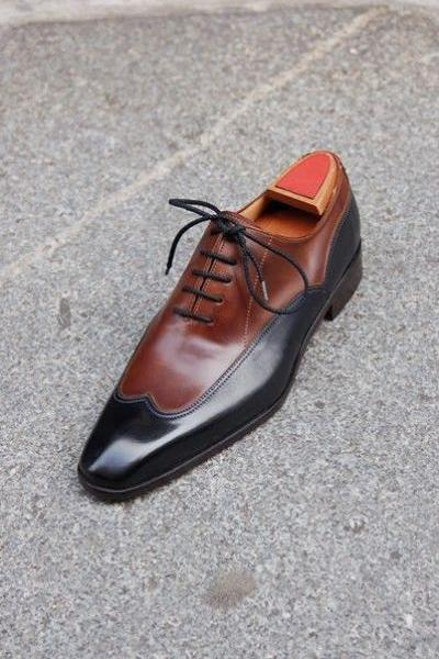 Handmade Men Brown And Black Two Tone Formal Shoes, Men Dress leather shoe