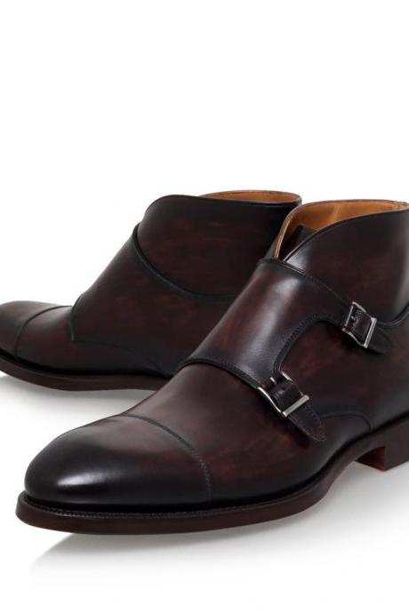 Handmade men brown double monk strap boots, men's leather formal boots