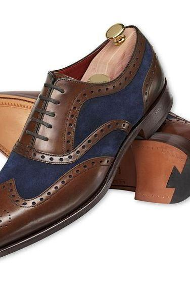 Handmade Men brown and Navy blue shoes, Men's two tone wing tip brogue formal shoe
