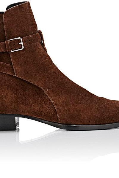 Handmade men brown jodhpurs ankle boots, Men genuine suede high boot
