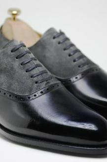 Handmade men's gray and black leather shoes, Men two tone formal shoes,