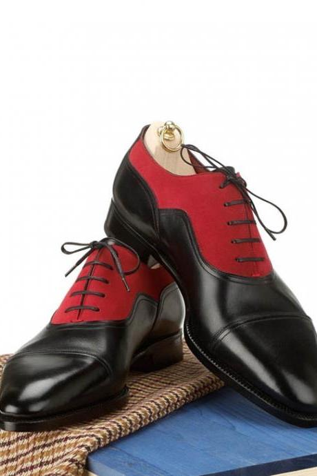 Handmade men two tone red and black formal shoes, Men's oxford dress shoes