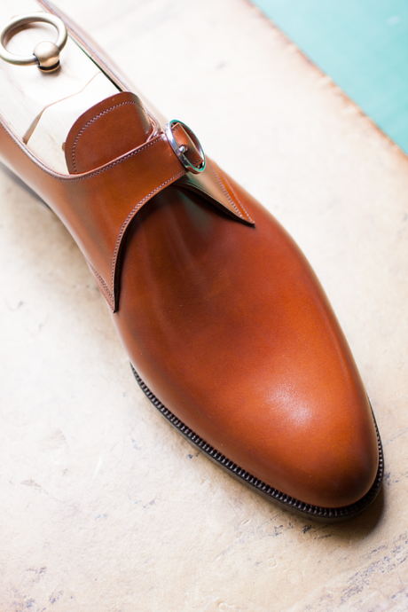 Handmade men's Tan monk calf leather shoes,Men monk dress shoes
