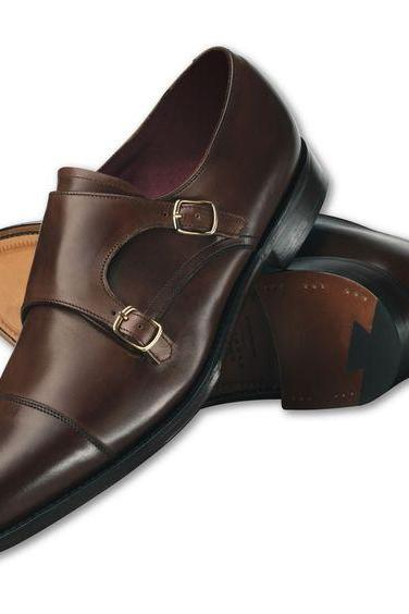 Men's Leather Double Monk Shoes