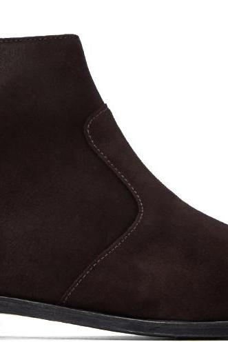 Handmade men dark brown side zip boots, Men's genuine suede ankle boot