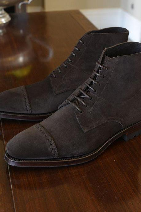 Handmade men Dark brown suede Oxford boots, Men ankle leather boot