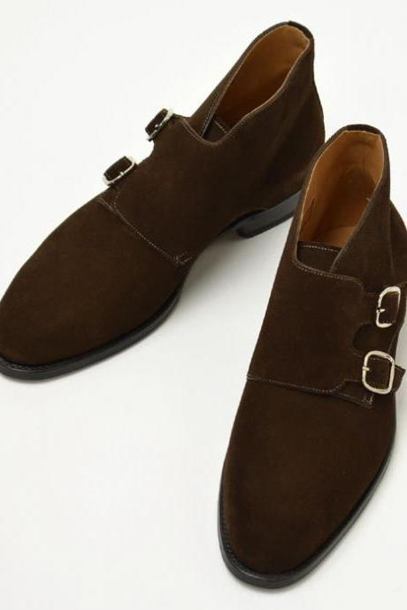 Handmade men double monk chukka boots, Men brown suede leather boot