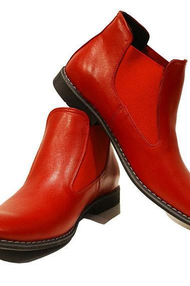 Handmade men Red color Genuine leather boots, Men's real leather ankle boot