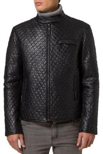 Leather Skin Men Black Diamond Quilted Genuine Real Leather Jacket
