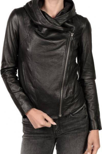 Leather Skin Women Black Brando Hooded Hoodie Genuine Real Leather Jacket