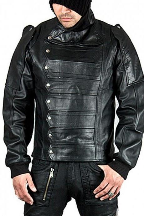 Leather Skin Men Black Military Motorcycle Biker Real Genuine Leather Jacket