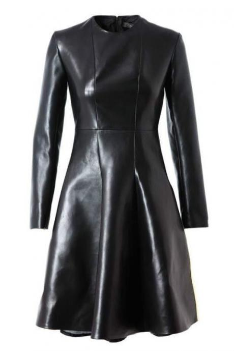 Women Black Soft Designer Party Dress Handmade Real Genuine Leather Dress Jacket