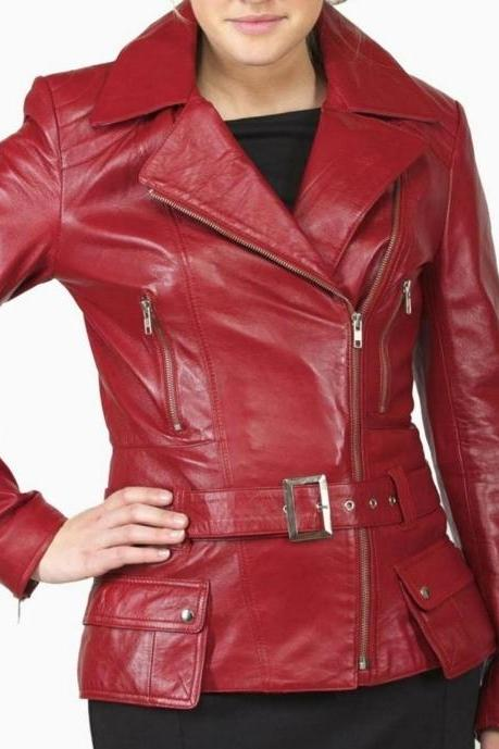 Women Red Brando Belted Leather Jacket with Extra Front Pockets
