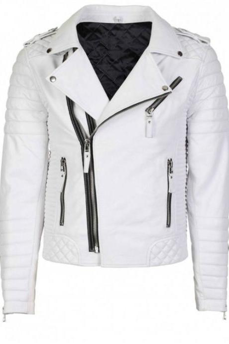 Men White Brando Quilted Biker Motorcycle Leather Jacket