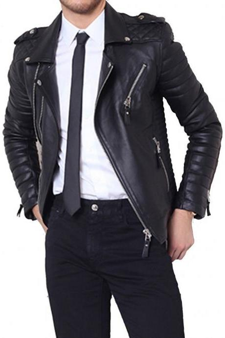 Leather Skin Men Black Cow Skin Biker Motorcycle Leather Jacket