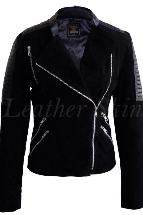 Leather Skin Women Black Brando Suede Sleeve Shoulder Padded Leather Jacket