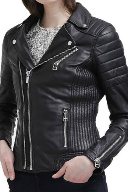 Leather Skin Women Black Quilted High Quality Premium Leather Jacket