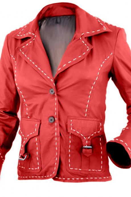 NWT Red Women Ladies with White Border Stylish Premium Genuine Leather Jacket