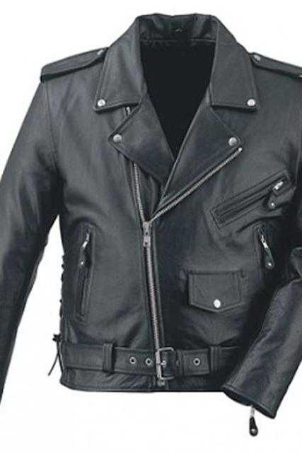 Hot Black Brando Belted Tourist Motorcycle Biker Leather Jacket w front pocket