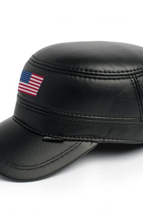 Leather Skin Handmade Genuine Black Leather Snapback Cap with American USA Flag