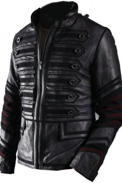 NWT Black Military Men Fashion Stylish Sexy Premium Genuine Real Leather Jacket