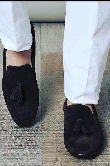 Men Black Tassel Handmade Suede Leather Shoes