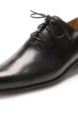 Men Black Formal Handmade Genuine Leather Shoes with laces
