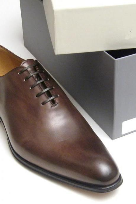 Men Brown Derby Handmade Genuine Leather Shoes