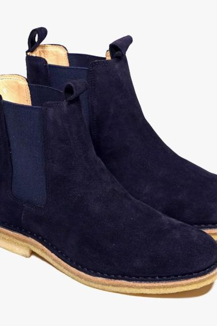 Men Blue Chelsea Suede Leather Boots with Brown Outsole