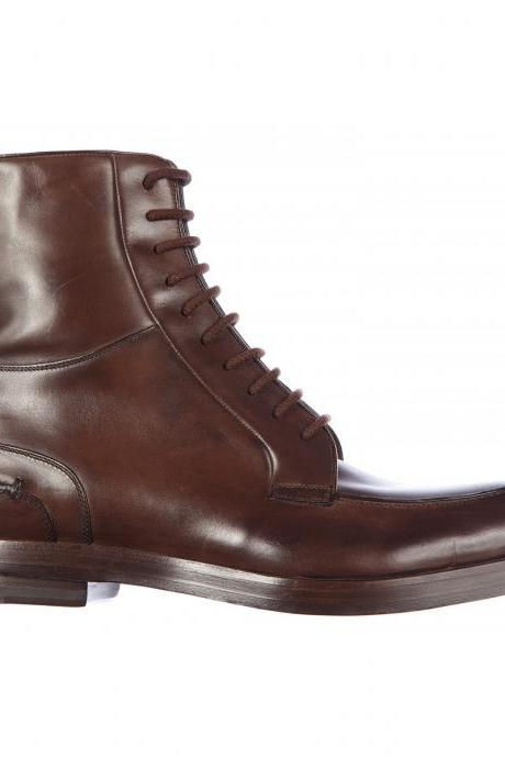 Men Brown Military Lace Up Zipped Genuine Leather Boots