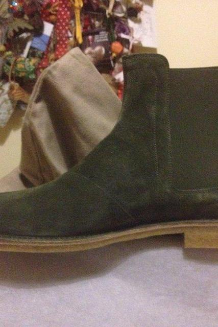 Men Green Chelsea Suede Leather Boots