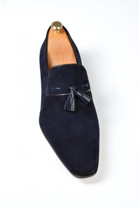 Men Blue Tassel Suede Moccasins Leather Shoes