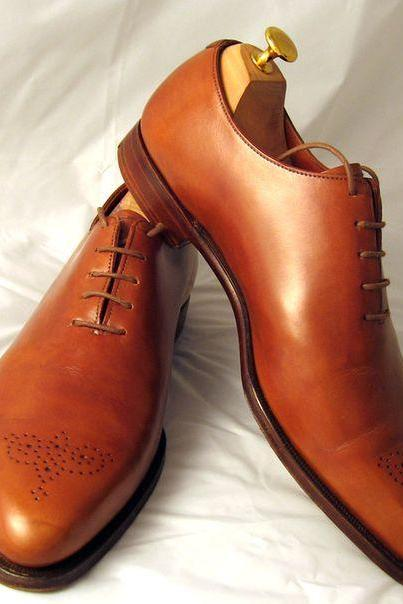 Men Brown Oxford Genuine Leather Shoes with Laces