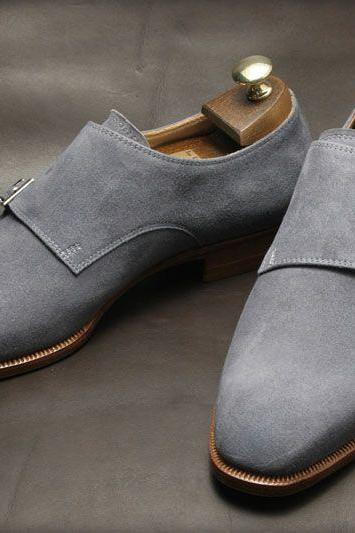 Men Gray Grey Double Monk Suede Leather Shoes