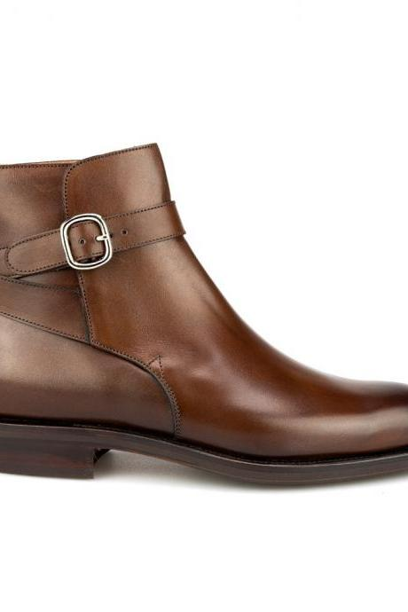Men Brown Jodhpurs Genuine Ankle Leather Boots