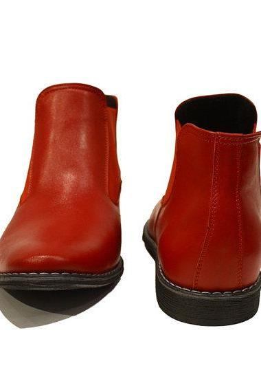 Men Red Chelsea Genuine Leather Shoes