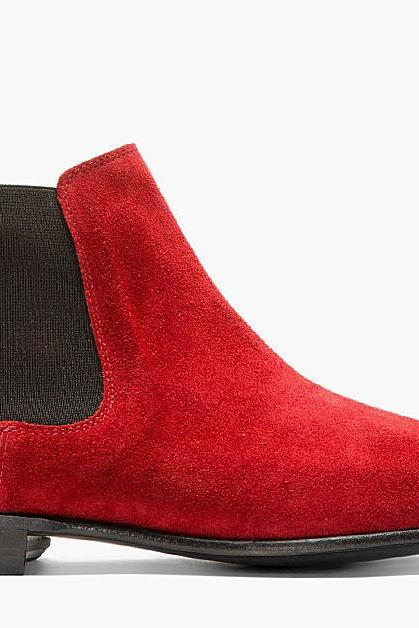 Men Red Chelsea Suede Leather Shoes