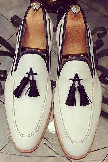 Men White Tassel Moccasins Genuine Leather Shoes