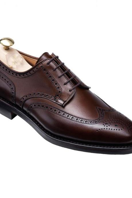 Men Brown Oxford Brogue Wingtip Laces Genuine Leather Shoes