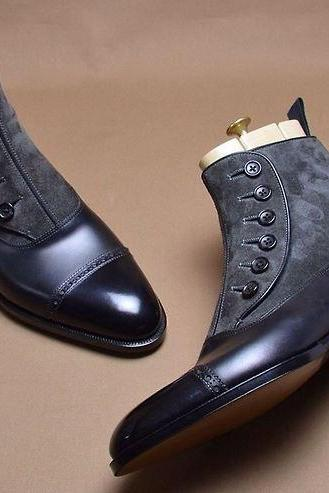 Men Two Tone Black Gray Grey Buttons Suede & Genuine Leather Boots