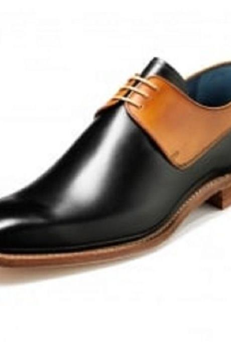 Men Black Brown Derby Laces Genuine Leather Shoes